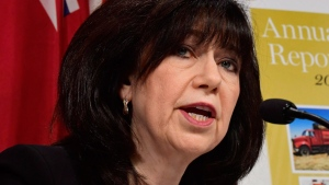 Ontario auditor general Bonnie Lysyk talks about her annual report at a news conference in Toronto, Wednesday, Dec.6, 2017. THE CANADIAN PRESS/Frank Gunn