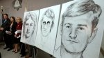 In this June 15, 2016, file photo, law enforcement drawings of a suspected serial killer believed to have committed at least 12 murders across California in the 1970's and 1980's are displayed at a news conference about the investigation, in Sacramento, Calif.  (AP Photo/Rich Pedroncelli, File)