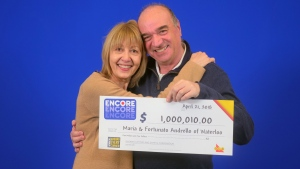 Maria and Fortunato Andrello of Waterloo won $1,000,010 on a Lotto 6/49 ticket with Encore.