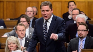 Conservative Leader Andrew Scheer stands during question period in the House of Commons on Parliament Hill in Ottawa on Wednesday, April 25, 2018. THE CANADIAN PRESS/Sean Kilpatrick