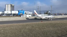 Plane lands on northeast Calgary road