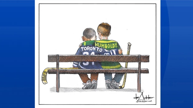 Cartoonist Michael de Adder says he was trying to bring a bit of positivity to a horrible situation when he illustrated an image depicting the recent tragedies in Toronto and Humboldt, Sask. (Michael de Adder/Twitter)