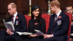 Prince William, left, Prince Harry and Meghan Markle attend a Service of Thanksgiving and Commemoration on ANZAC Day at Westminster Abbey in London, Wednesday, April 25, 2018. (Eddie Mulholland/Pool via AP)