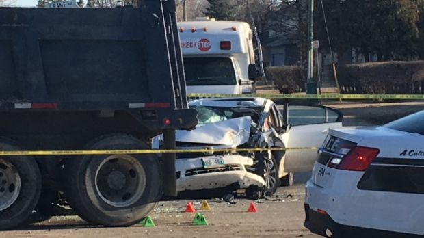 2 sent to hospital after crash with dump truck