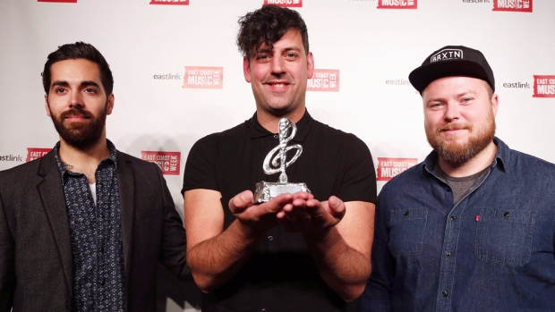 In-Flight Safety pose after winning Album of the Year at the 2015 East Coast Music Awards Gala on April 9, 2015. (Paul Daly / THE CANADIAN PRESS)