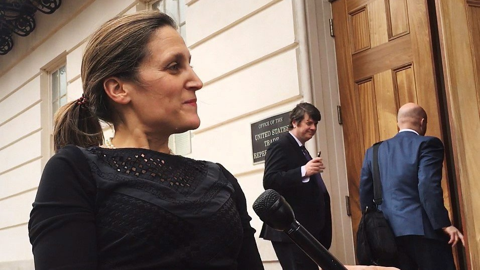Minister of Foreign Affairs, Chrystia Freeland, speaks with media in Washington, D.C. on Tuesday, April 24, 2018. THE CANADIAN PRESS/Alex Panetta