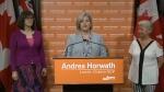 Andrea Horwath speaks to reporters on April 26, 2018.
