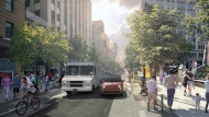 Under the 2018 revised plan for Ste. Catherine St., the sidewalks will expand, car traffic will be limited to one lane, and one lane will be reserved for deliveries.