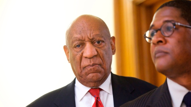 Actor and comedian Bill Cosby reacts while being notified a verdict was in in his sexual assault retrial, Thursday, April, 26, 2018, at the Montgomery County Courthouse in Norristown, Pa. (Mark Makela/Pool Photo)