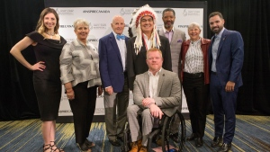 Inductees cross country skier Chandra Crawford, left to right, Maureen Baker, daughter of broadcasting pioneer Mary Baker, former Toronto Maple Leafs player Dave Keon, Indigenous sport organizer and advocate Wilton Littlechild, wheelchair racer Jeff Adams, CFL legend Damon Allen, rower Dr. Sandra Kirby, and diver Alexandre Despatie pose for a photo following a news conference to announce inductees to Canada's Sports Hall of Fame's 'Class of 2018' in Toronto on Thursday, April 26, 2018. THE CANADIAN PRESS/Chris Young