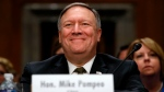 In this April 12, 2018, file photo Mike Pompeo smiles after his introduction before the Senate Foreign Relations Committee during a confirmation for him to become the next Secretary of State on Capitol Hill in Washington. (AP Photo/Jacquelyn Martin, File)