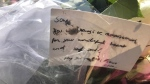 Photo of a card left at Olive Square near Yonge Street and Finch Avenue in remembrance of Sohe Chung. (Janice Golding)