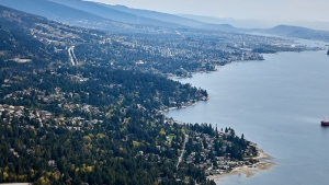 The West Vancouver shoreline is seen in this image from CTV's Chopper 9. (Pete Cline)
