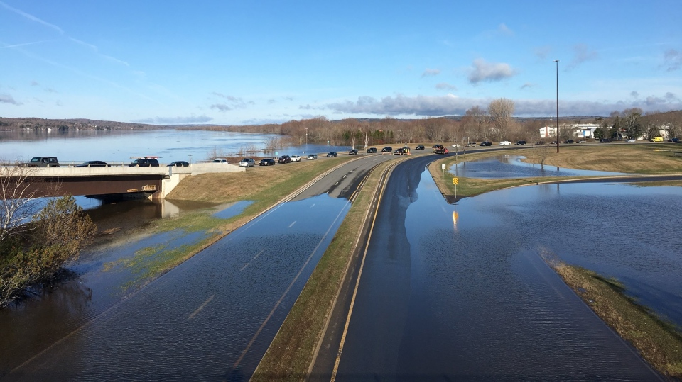 Floodwaters delayed traffic from getting onto Fredericton's Westmorland Street Bridge the morning of April 27, 2018. (Nick Moore/CTV Atlantic)