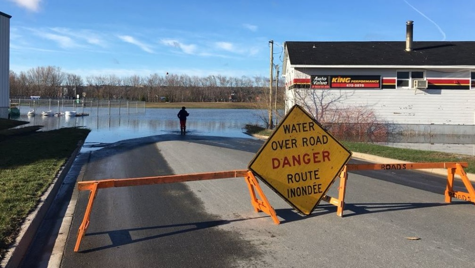 Some roads and walking trails are closed in Fredericton after the St. John River spilled its banks. (Nick Moore/CTV Atlantic)