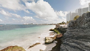 A beach in Cancun, Mexico is shown in this image taken from Google Maps.