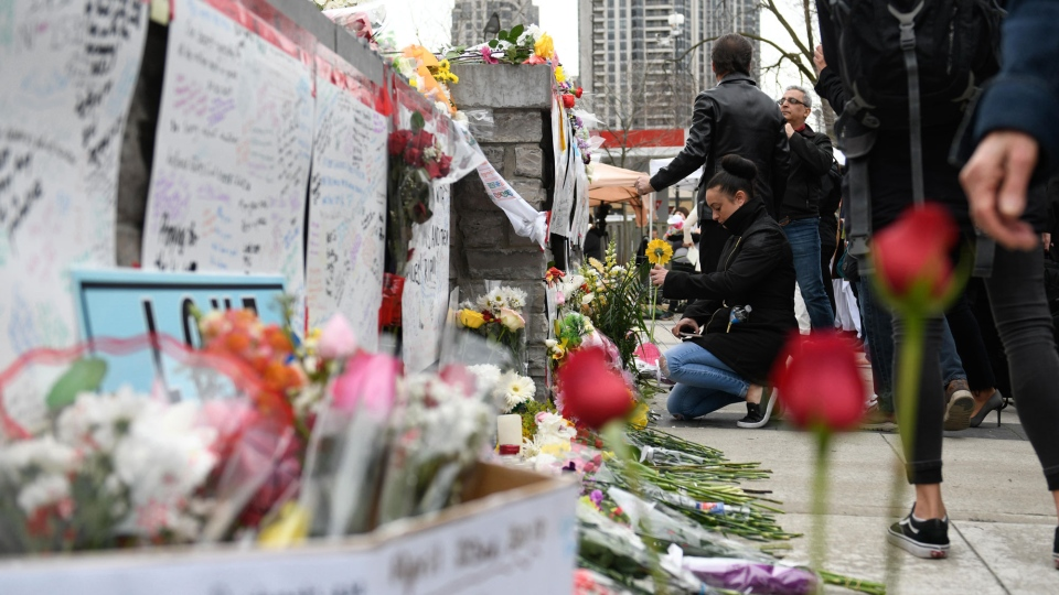 The victims of this week's van attack in Toronto include eight women and two men, authorities said Friday as a memorial continues for the victims.