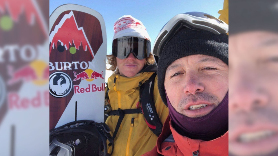 U.S. snowboarder Brock Crouch, left, and mountain safety location co-ordinator Shin Campos, are seen in this undated handout photo. (Shin Campos)