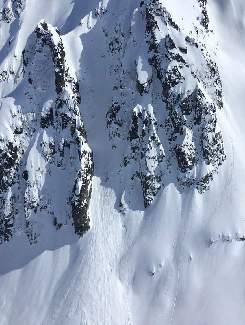 Avalanche debris is seen on a mountain in the Whistler B.C. backcountry in this undated handout photo. (Shin Campos)