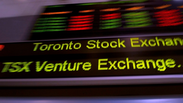 The TSX ticker is shown in Toronto on May 10, 2013. (THE CANADIAN PRESS/Frank Gunn)