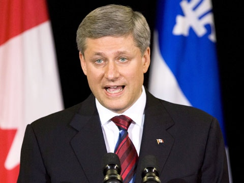Prime Minister Stephen Harper speaks at a news conference in Quebec City, Wednesday, June 3, 2009. (Jacques Boissinot / THE CANADIAN PRESS)