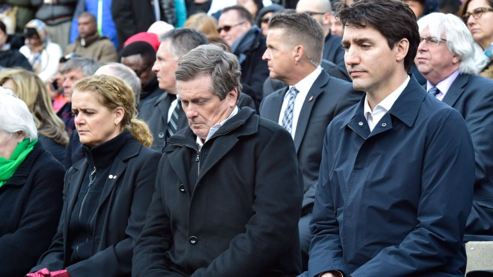 Prime Minister Justin Trudeau (right to left) Toronto Mayor John Tory and Gov.-Gen. Julie Payette attend a vigil remembering the victims of Monday's deadly van attack, at Mel Lastman Square in Toronto on Sunday, April 29, 2018. THE CANADIAN PRESS/Frank Gunn