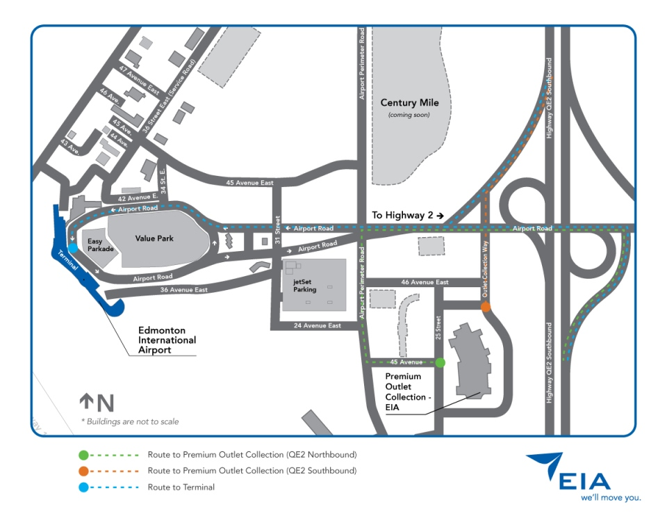 A map shows how drivers can get to the Edmonton International Airport and the Premium Outlet Collection EIA. Supplied. (Click to expand)