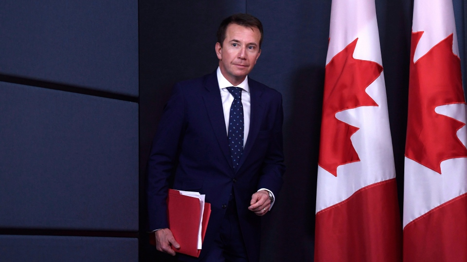 President of the Treasury Board Scott Brison, acting minister of democratic reform, arrives for a press conference on efforts to modernize Canada's federal elections in Ottawa on Monday, April 30, 2018. THE CANADIAN PRESS/Justin Tang