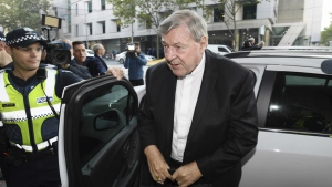 Australian Cardinal George Pell arrives at the Magistrates Court in Melbourne, Australia, Tuesday, May 1, 2018. (Joe Castro/AAP Image via AP)