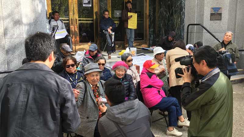 Protesters have vowed to block access to Vancouver City Hall for the entire day. May 1, 2018.