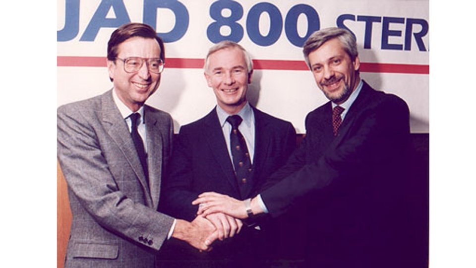 Former Liberal Premier Robert Bourassa meets PQ Leader Pierre-Marc Johnson at CJAD studios for the first-ever English language political debate in Quebec, organized as part of the 1985 Quebec election campaign. (Photo: Bob Linney)