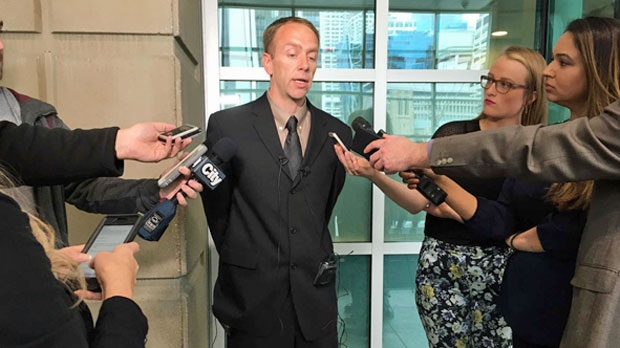 Ryan McGrath addresses the media on May 1, 2018 after Elmarie Simons was charged in connection with the death of his 18-month-old daughter Ceira