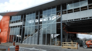 At Hurdman Station glass panels are going up to shield people from the elements and bring in natural light. (City of Ottawa)