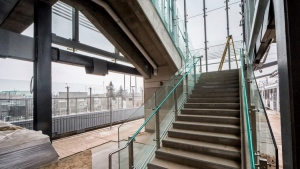 Glass stair railings at Blair Sation. The stations feel open and airy. (City of Ottawa)