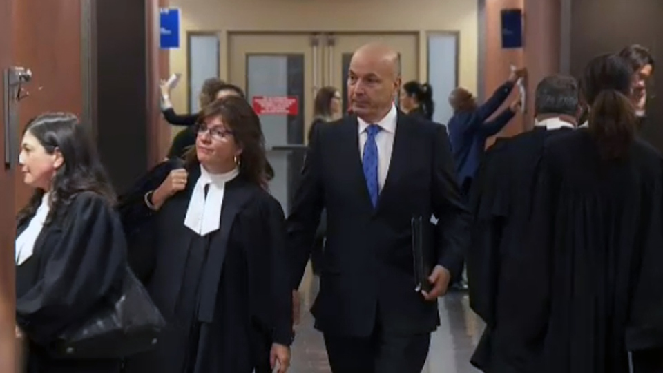 Frank Zampino arrives in the Montreal courthouse on May 2, 2018, awaiting his verdict for fraud and corruption.
