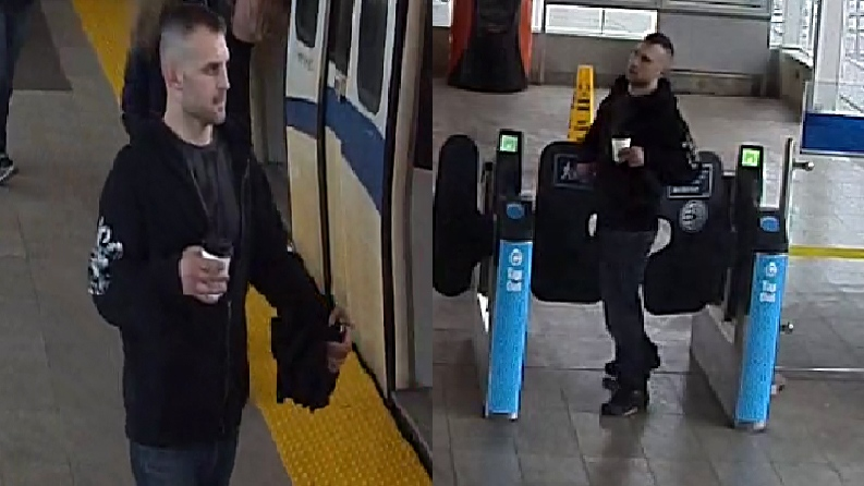 The suspect in an assault at a SkyTrain station in New Westminster is seen in these photos provided by Transit Police.