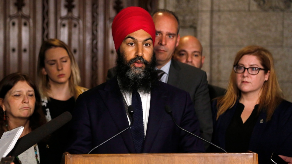 NDP Leader Jagmeet Singh speaks about the harassment allegations against Saskatchewan MP Erin Weir outside the House of Commons on Parliament Hill in Ottawa on Thursday, May 3, 2018. (THE CANADIAN PRESS/ Patrick Doyle)