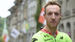 Michael Woods of the Cannondale Drapac Pro Cycling Team at the 81st Tour de Suisse UCI ProTour cycling race, on June 13, 2017. (Gian Ehrenzeller / Keystone / THE CANADIAN PRESS/ AP )