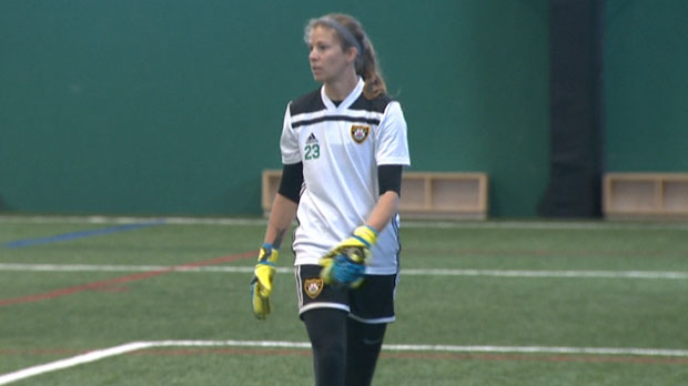 Despite making the team, the coach of Calgary Foothills FC says the 31-year-old Stephanie Labbé is being barred from playing in the regular season because of a 'technicality'.