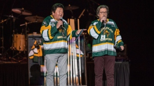 "American comedians Terry Ree, left, and Bruce Williams, right, known as ""The Indian and the White Guy,"" perform during the Country Thunder Humboldt Broncos Tribute Concert in Saskatoon, Sask. Friday, April 27, 2018. THE CANADIAN PRESS/Liam Richards"