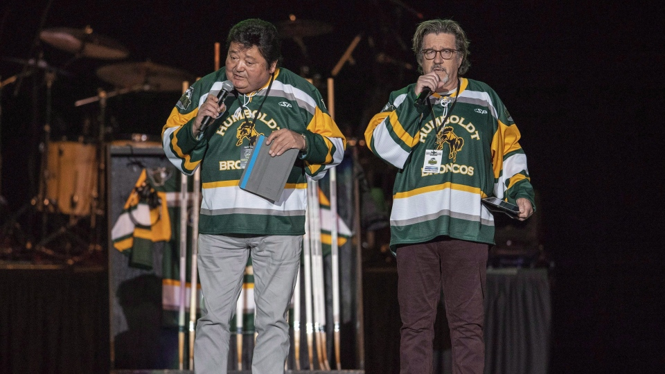 "American comedians Terry Ree, left, and Bruce Williams, right, known as ""The Indian and the White Guy,"" perform during the Country Thunder Humboldt Broncos Tribute Concert in Saskatoon, Sask. Friday, April 27, 2018. (THE CANADIAN PRESS/Liam Richards)"