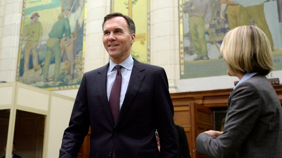 Minister of Finance Bill Morneau arrives to testify at a Commons status of women committee with department officials on the effect of Budget 2018 on women and girls in Canada, on Parliament Hill in Ottawa on Monday, April 30, 2018. (THE CANADIAN PRESS/Justin Tang)