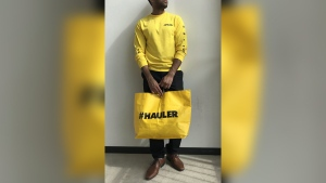 A model wears No Frills' new 'Hauler' limited edition clothing line. (THE CANADIAN PRESS / HO, Loblaw Companies Ltd.)