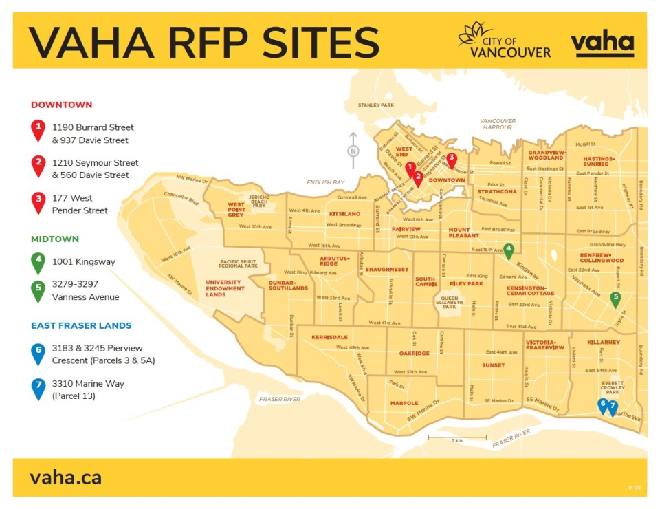 A map shows the locations of the seven developments announced Friday, May 4, 2018 in Vancouver.