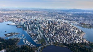 Vancouver's downtown core is seen in an image taken from Chopper 9 by CTV Vancouver's Pete Cline in April 2018.