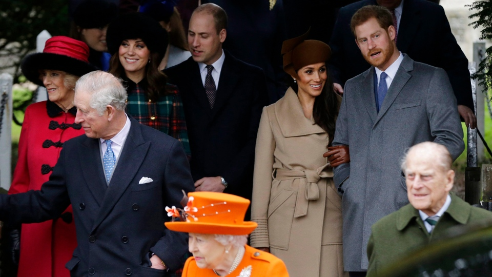 Front from left: Prince Charles, Queen Elizabeth II and Prince Philip. Rear From left, Camilla, Duchess of Cornwall, Kate, Duchess of Cambridge, Prince William, Meghan Markle, and her fiancee Prince Harry, right, are seen at St. Mary Magdalene Church in Sandringham, England, Monday, Dec. 25, 2017. (AP Photo/Alastair Grant)