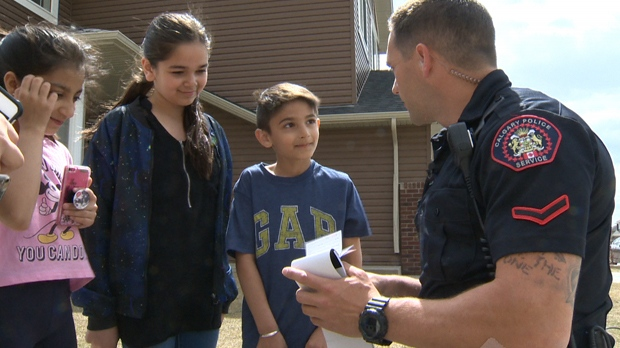 Constable Joe Cecchini says that handing out 'positive tickets' promotes a good relationship between kids and the Calgary Police Service.