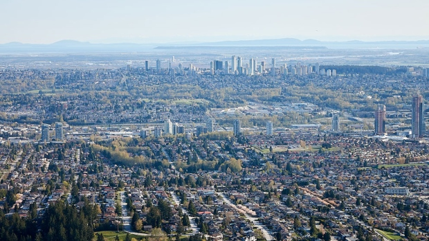Metrotown is seen from a distance in this photo taken in CTV's Chopper 9 in April 2018. (Pete Cline)