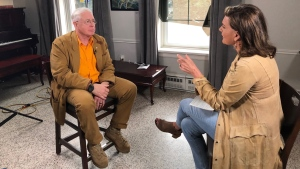 Songwriter Bruce Cockburn talks to CTV News Chief Anchor and Senior Editor Lisa LaFlamme at the Academy Theatre in Lindsay, Ont., on Friday, May 4, 2018.