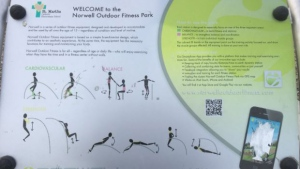 This sign located at the Norwell Outdoor Fitness Park had a QR code that led an Edmonton woman to a porn website.